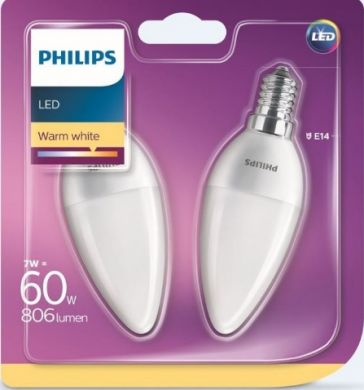 Philips LED bulb 60W E14 WW B38 FR ND 806Lm 2 psc. 929001325131