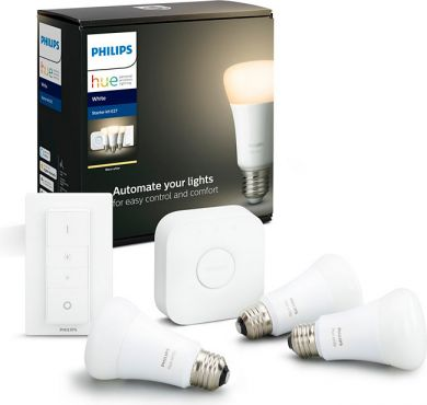Philips Hue Sākuma komplekts 3 x E27 A60 White + bridge + switch (Bluetooth) 929001821604